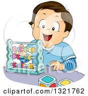 Clipart Of A Happy Brunette White Toddler Boy Playing With An Abacus Royalty Free Vector Illustration