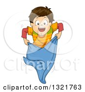 Clipart Of A Happy Brunette White Boy During A Sack Race Royalty Free Vector Illustration