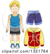 Clipart Of A Happy Blond White Boy With A Jacket And Shorts Royalty Free Vector Illustration
