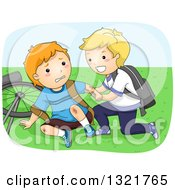 Clipart Of A Nice Blond Boy Helping A Friend Up After Falling Off Of His Bike Royalty Free Vector Illustration