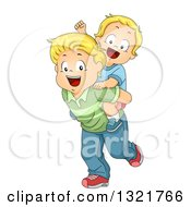 Clipart Of A Happy Blond White Toddler Boy Cheering And Getting A Piggy Back Ride From His Brother Royalty Free Vector Illustration