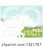 White Silhouetted Running Horse In A Pasture