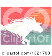 Clipart Of Silhouetted Running Horses Against The Sunset Royalty Free Vector Illustration