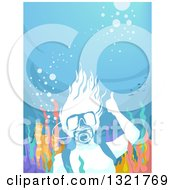Clipart Of A Scuba Woman Giving A Thumb Up Underwater At A Reef Royalty Free Vector Illustration