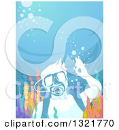 Clipart Of A Scuba Man Gesturing Ok Underwater At A Reef Royalty Free Vector Illustration