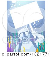 Clipart Of A Scuba Man Holding Up A Blank Sign Underwater At A Reef Royalty Free Vector Illustration