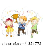 Clipart Of A Happy Team Of White Boys And A Girl Cheering With A Trophy Royalty Free Vector Illustration