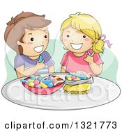 Clipart Of A Happy Brunette White Boy And Blond Girl Eating Gummy Candy Royalty Free Vector Illustration