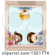 Clipart Of A Happy Black Girl And White Boys Looking Down Into A Box Royalty Free Vector Illustration by BNP Design Studio
