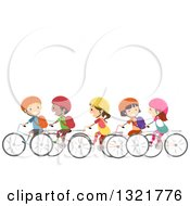 Clipart Of A Line Of Happy Children Riding Bicycles Together Under Text Space Royalty Free Vector Illustration by BNP Design Studio
