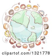Clipart Of A Sketched Circle Of Happy Kid Faces Around Planet Earth Royalty Free Vector Illustration by BNP Design Studio