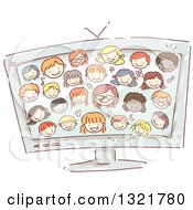 Clipart Of A Sketched Computer Screen With Happy Kid Faces Royalty Free Vector Illustration