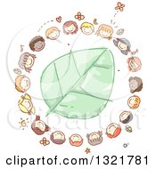 Sketched Circle Of Happy Kid Faces Around A Green Leaf