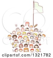Clipart Of A Sketched School House Made Of Happy Kid Faces With A Flag Pole Royalty Free Vector Illustration
