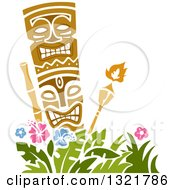 Clipart Of A Tiki Statue And Torches Over Hibiscus Flowers Royalty Free Vector Illustration by BNP Design Studio
