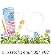 Clipart Of A Tiki Statue And Torches Over Hibiscus Flowers With Text Space Royalty Free Vector Illustration