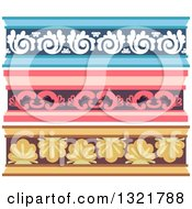 Clipart Of Blue Pink And Yellow Ornate Cornice Borders Royalty Free Vector Illustration