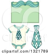 Clipart Of A Baby Onesie With A Tie And Mustache Note Royalty Free Vector Illustration
