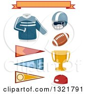 Clipart Of A Jacket Banners And College Sports Items Royalty Free Vector Illustration