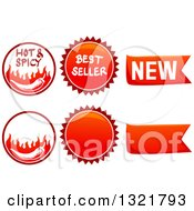 Clipart Of Spicy Food Labels Royalty Free Vector Illustration