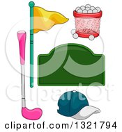 Blank Green Sign Basket Of Golf Balls Flags Club And Hat