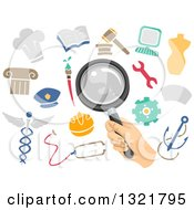 Clipart Of A Hand Holding A Magnifying Glass Over Academic Icons Royalty Free Vector Illustration