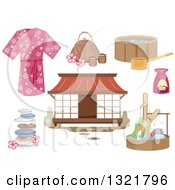 Clipart Of Japanese Spa Design Elements Royalty Free Vector Illustration by BNP Design Studio