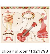 Clipart Of Sketched Mexican Dancer Man Hat Guitar And Mustache Royalty Free Vector Illustration