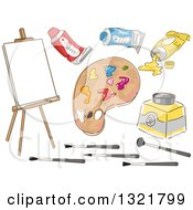 Clipart Of A Sketched Easel And Art Painting Supplies Royalty Free Vector Illustration by BNP Design Studio