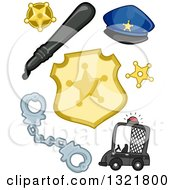 Clipart Of A Police Car Handcuffs Badges Baton And Hat Royalty Free Vector Illustration