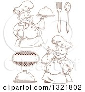 Clipart Of Sketched Male Chefs And Accessories Royalty Free Vector Illustration by BNP Design Studio