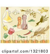 Clipart Of Sketched Spice Herbs Peppers Seasonings And Oil Royalty Free Vector Illustration