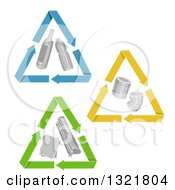 Clipart Of Triangle Recycle Arrows Around Glass Plastic Cnas And Paper Royalty Free Vector Illustration by BNP Design Studio