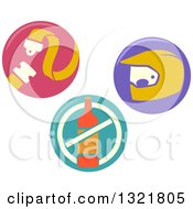 Clipart Of Round Buckle Up No Drinking And Driving And Safety Icons Royalty Free Vector Illustration