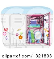 Clipart Of An Open Girls School Locker With Pink Zebra Print Royalty Free Vector Illustration by BNP Design Studio