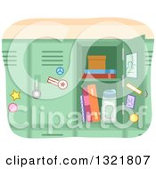Clipart Of An Open Green School Locker Royalty Free Vector Illustration by BNP Design Studio