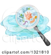 Clipart Of A Magnifying Glass Seeing Germs In Water Royalty Free Vector Illustration