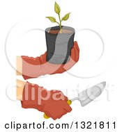 Clipart Of Gloved Gardener Hands Holding A Sapling Plant And Spade Royalty Free Vector Illustration