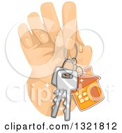 Clipart Of A Hand Holding House Keys Royalty Free Vector Illustration