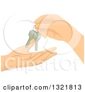 Clipart Of Hands Exchanging Keys Royalty Free Vector Illustration