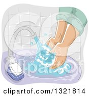 Clipart Of A Person Washing Their Hands In A Purple Sink Royalty Free Vector Illustration by BNP Design Studio