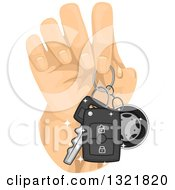 Clipart Of A Hand Holding Car Keys Royalty Free Vector Illustration