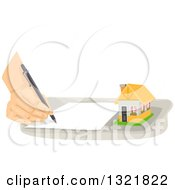 Clipart Of A Hand Writing A Note By A Tiny House Royalty Free Vector Illustration