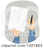 Clipart Of Hands Holding Out A Piece Of Paper And A Pen Royalty Free Vector Illustration by BNP Design Studio
