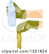 Gloved Hands Holding A Banana Peel And Water Bottle