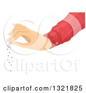 Clipart Of A Hand Spreading Seeds Royalty Free Vector Illustration