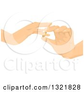Clipart Of Hands Putting Wedding Rings On Royalty Free Vector Illustration