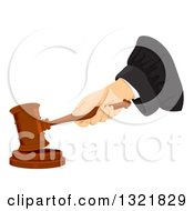 Clipart Of A Judges Hand Banging A Gavel Royalty Free Vector Illustration