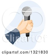 Clipart Of A Hand Holding A Wireless Microphone Royalty Free Vector Illustration
