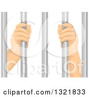 Clipart Of Prisoner Hands Grasping Bars Royalty Free Vector Illustration